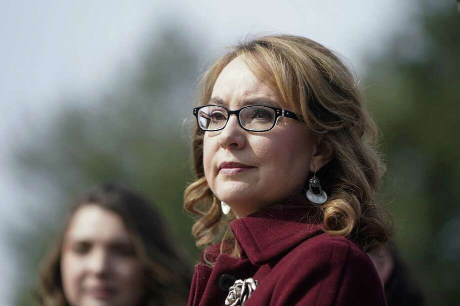 Former Rep. Gabby Giffords, D-Ariz., listens as Democratic lawmakers speak in support gun background checks legislation bill H.R. 8 on Capitol Hill on February 26, 2019 in Washington, DC. Photo: Joshua Roberts / Getty Images / 2019 Getty Images