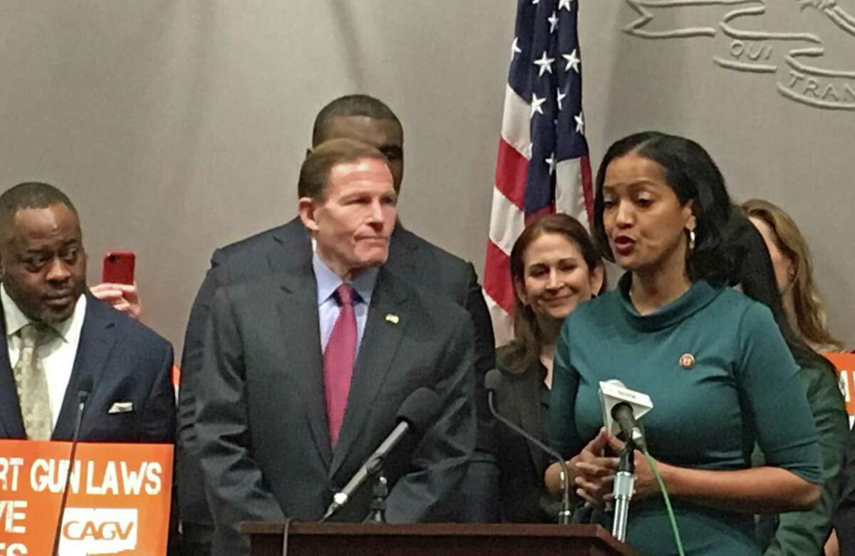 U.S. Rep. Jahana Hayes, D-5, spoke about universal background checks for gun buyers with U.S. Sen. Richard Blumenthal at the state Capitol.