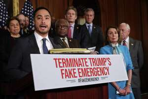WASHINGTON, DC - FEBRUARY 25: Rep. Joaquin Castro (D-TX) speaks during a news conference about the resolution he has sponsored to terminate President Donald Trump's emergency declaration February 25, 2019 in Washington, DC. The House is expected to vote on and pass a resolution this week that would abolish Trump's declaration of a national emergency to build a U.S.-Mexico border wall. (Photo by Chip Somodevilla/Getty Images) ***BESTPIX***