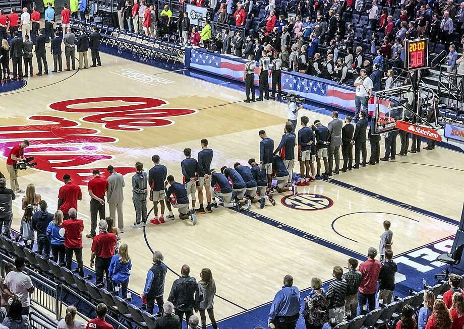 Several Ole Miss men's basketball players took a knee during the national anthem Saturday before playing Georgia. Photo: Nathanael Gabler / The Oxford Eagle