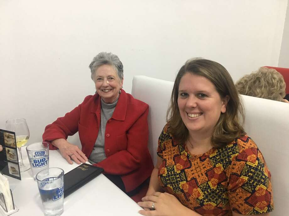 Torrington Economic Development Director Erin Wilson, on right, will soon join the city of Hartford in the same capacity. At left is Judith McElhone, founding executive director of Five Points Gallery in Torrington. Photo: Contributed Photo /