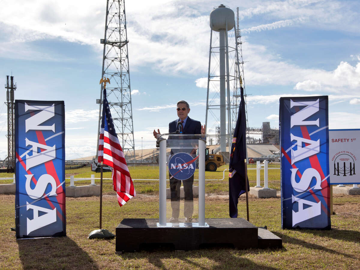 Kennedy Space Center Director Bob Cabana speaks during a groundbreaking ceremony for a new liquid hydrogen tank in December. Houston energy service company McDermott International won a contract to build the liquid hydrogen storage tank.