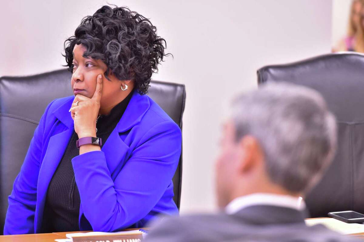 CPS Energy President and CEO Paula Gold-Williams listens to a presentation during a board meeting Monday at the company headquarters in downtown San Antonio.