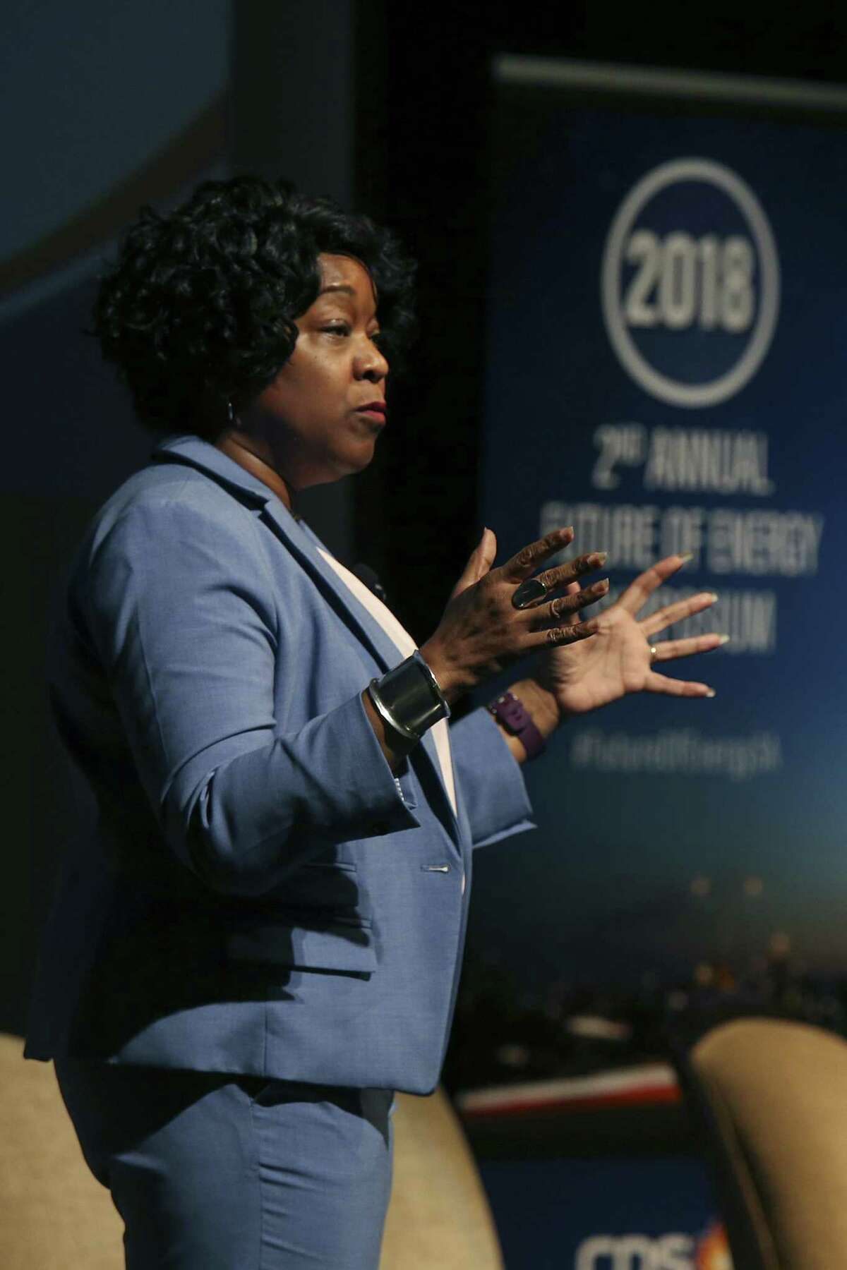 CPS Energy President and CEO Paula Gold-Williams speaks during the second annual Future of Energy Symposium at the Texas A&M - San Antonio main campus, Tuesday, Feb. 27, 2018.