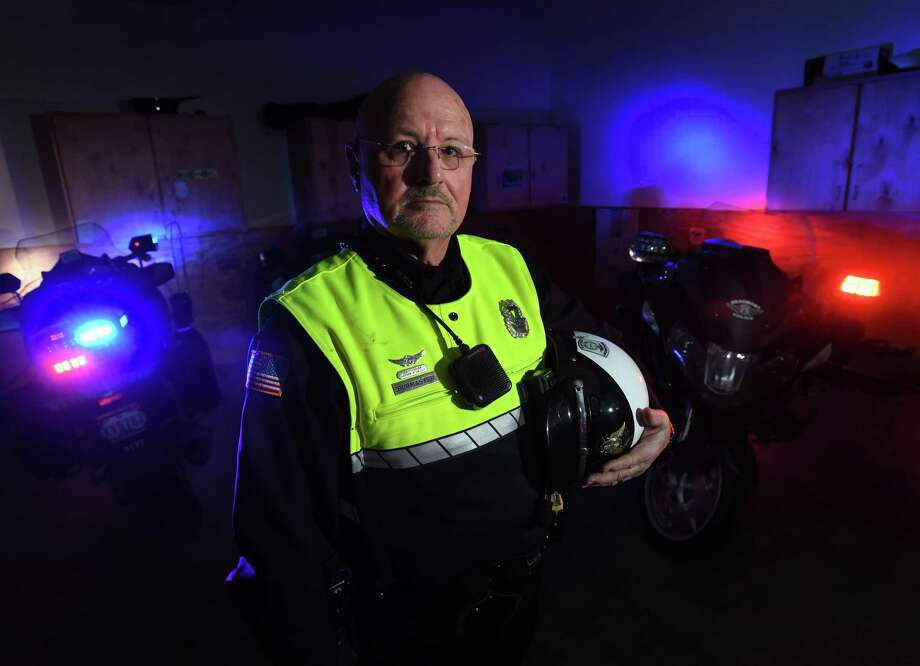 After months of recovery from a work related motorcycle accident, Beaumont Police Officer Kolin Burmaster returns to regular patrol today.   Photo taken Tuesday, 2/26/19 Photo: Guiseppe Barranco/The Enterprise, Photo Editor / Guiseppe Barranco ©
