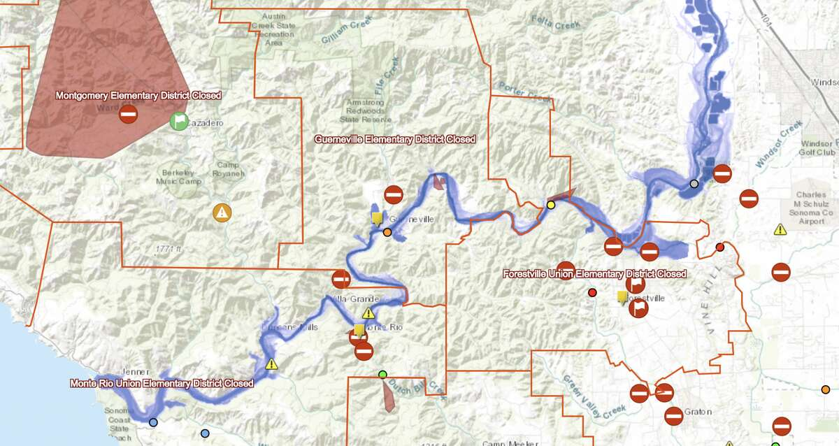 Sonoma County issued an interactive flood map of the Russian River Tuesday that's expected to exceed its banks this evening and inundate businesses and homes with water. This is a photo capture of the map taken at 6:30 p.m. on Feb. 26, 2019.
