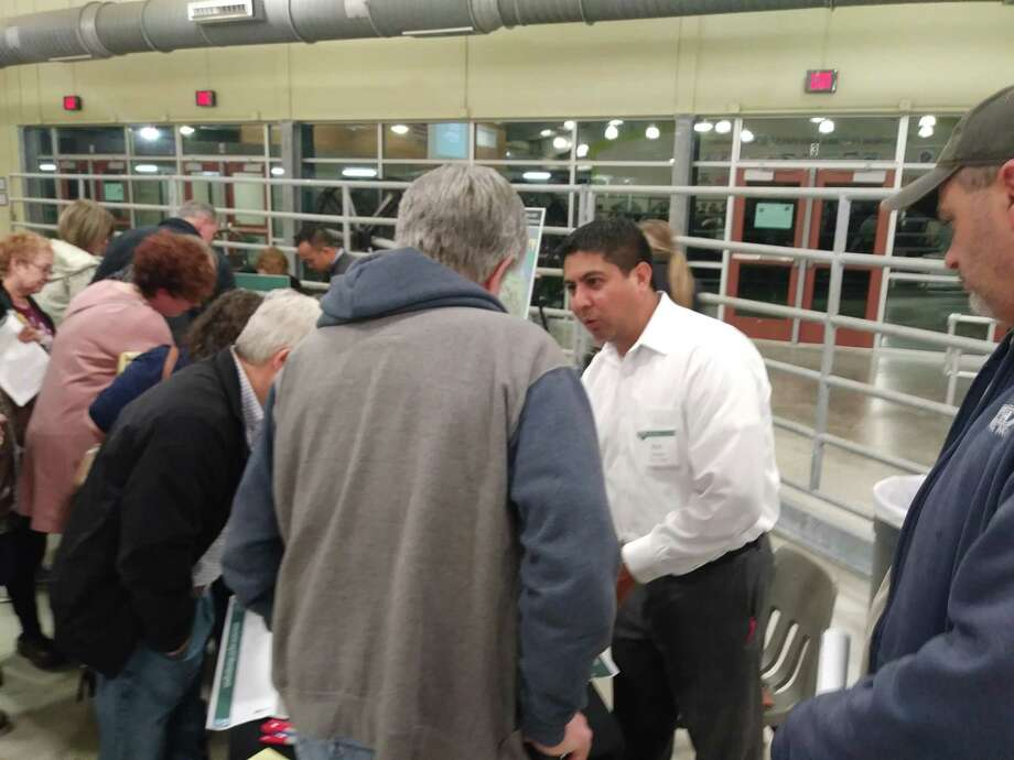 Rich Gallegos, Harris County Engineering Department explains to citizens how projects in the Ravensway area will function during a community engagement meeting held at the Cypress Exhibit Center on Feb. 26, 2019. Photo: Chevall Pryce