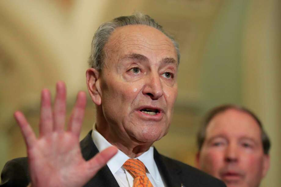 Senate Minority Leader Chuck Schumer of N.Y. with Sen. Tom Udall, D-N.M., speaks to reporters on Capitol Hill in Washington, Tuesday, Feb. 26, 2019. (AP Photo/Manuel Balce Ceneta) Photo: Manuel Balce Ceneta / Copyright 2019 The Associated Press. All rights reserved.