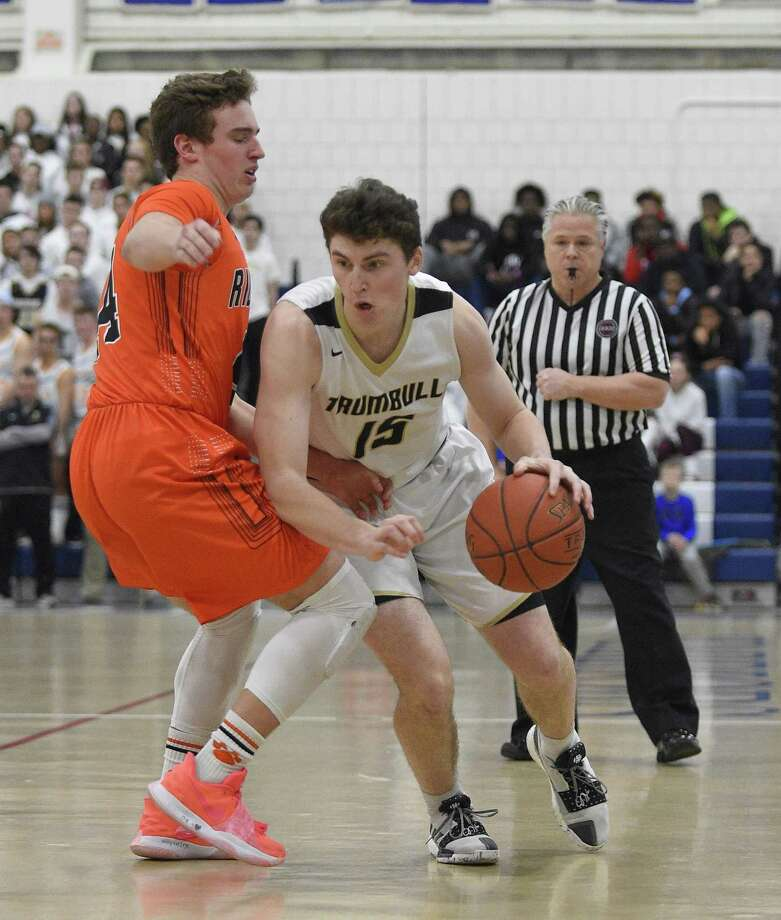 Ridgefield defeated Trumbull 73-66 in a FCIAC semifinal boys basketball game at Wilton High School on Tuesday, Feb. 26, 2019 in Wilton, Connecticut. Photo: Matthew Brown / Hearst Connecticut Media / Stamford Advocate
