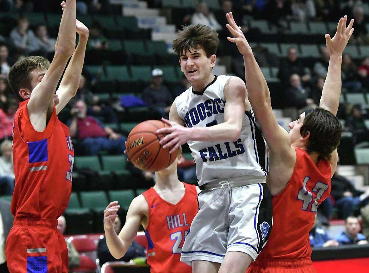 Hoosick Falls' Jon Kempf drives to the basket during a Class C basketball semifinal game against Maple Hill at the Cool Insuring Arena on Tuesday, Feb. 26, 2019 in Glens Falls, N.Y. (Lori Van Buren/Times Union)