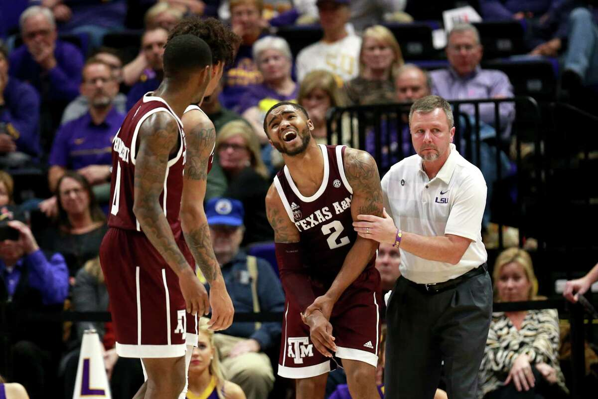 BATON ROUGE , LOUISIANA - FEBRUARY 26: TJ Starks #2 of the Texas A&M Aggies injurs his arm during the first half against the LSU Tigers at Pete Maravich Assembly Center on February 26, 2019 in Baton Rouge, Louisiana.