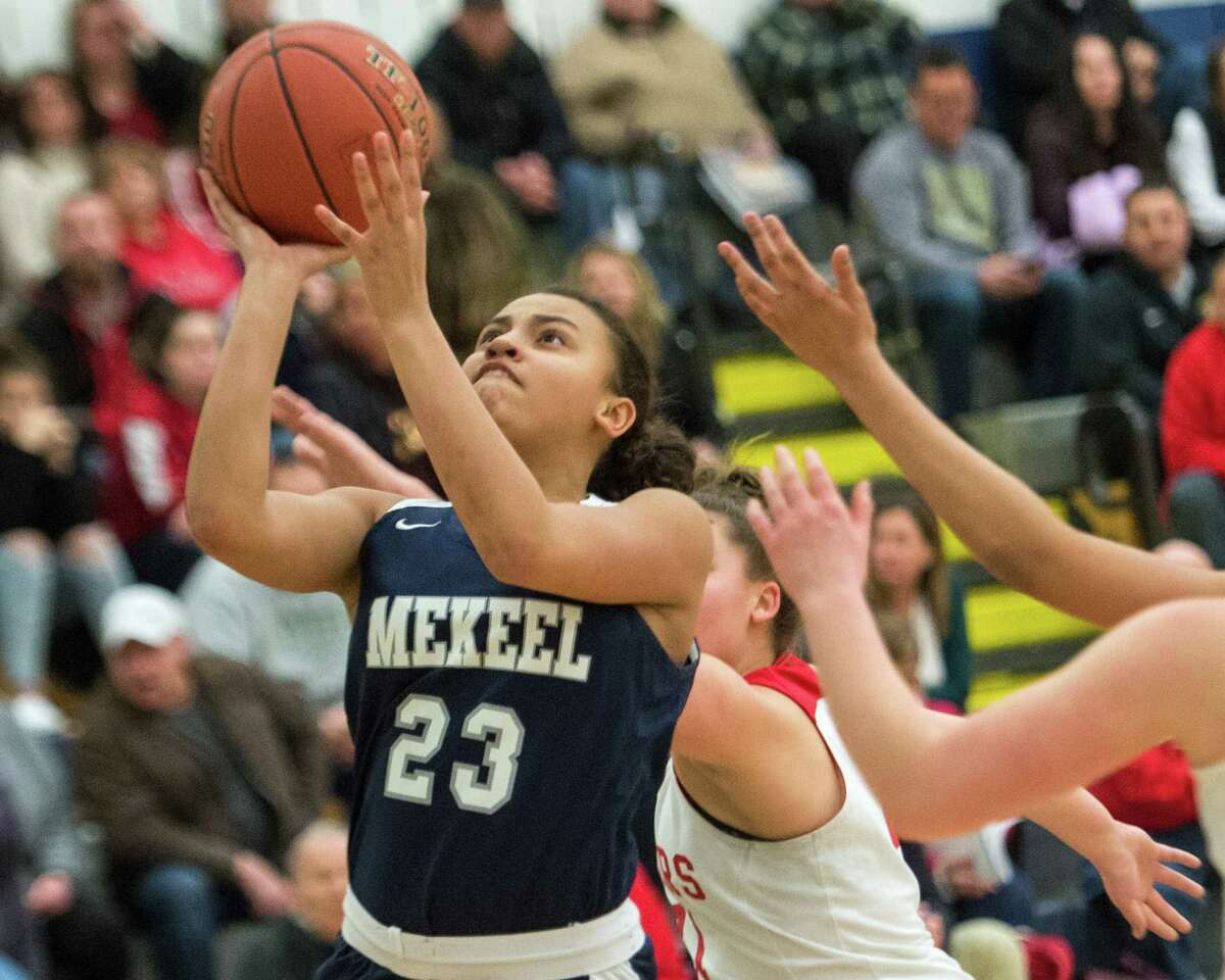 Mekeel Christian Academy?'s Maraya Davis drives to the basket against Mechanicville in the Section II, Class B semifinals at Averill Park High School on Tuesday, Feb. 26, 2019. (Jim Franco/Special to the Times Union)
