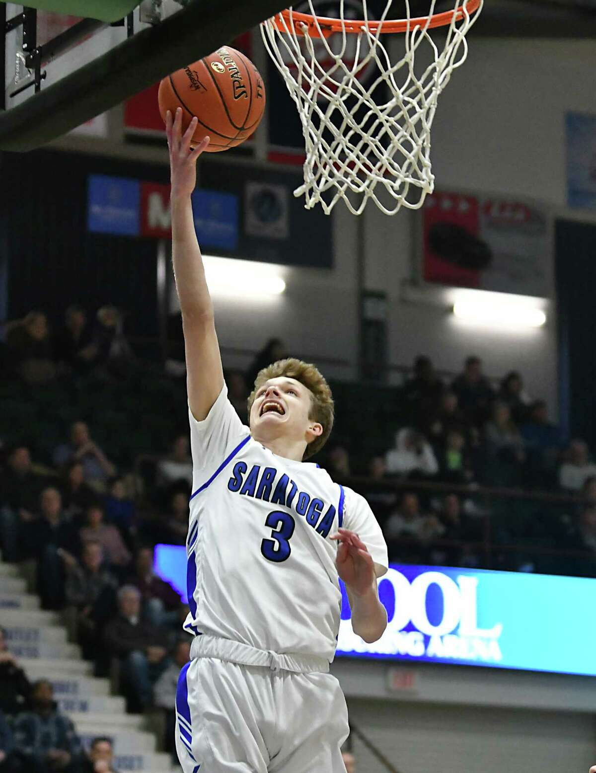 Saratoga's Charlie Beck lays one up during a Class Class AA basketball semifinal game against Shenendehowa at the Cool Insuring Arena on Tuesday, Feb. 26, 2019 in Glens Falls, N.Y. (Lori Van Buren/Times Union)