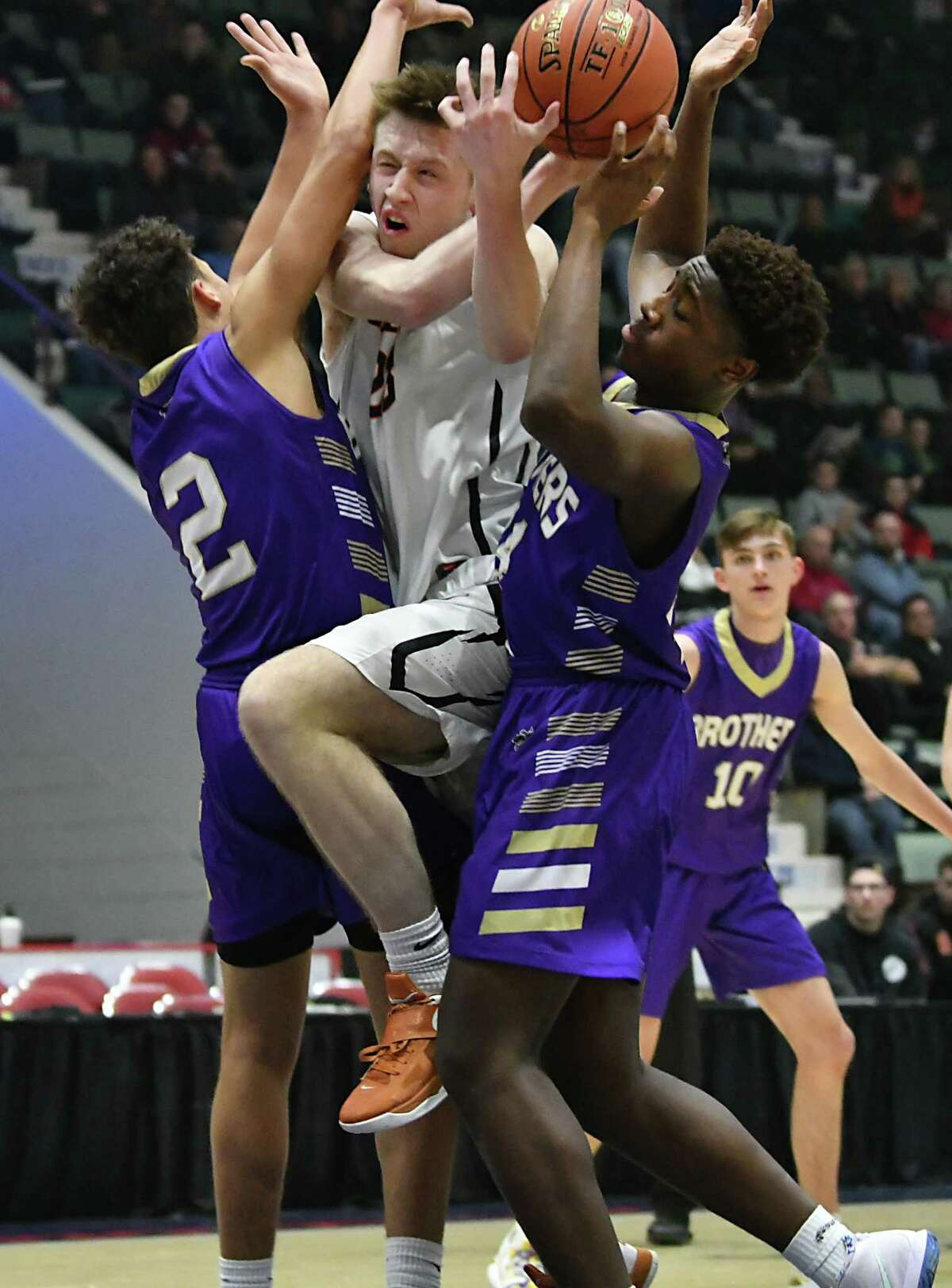 Bethlehem's Jake Laclair drives to the basket against Christian Brothers Academy during a Class Class AA basketball semifinal game at the Cool Insuring Arena on Tuesday, Feb. 26, 2019 in Glens Falls, N.Y. (Lori Van Buren/Times Union)
