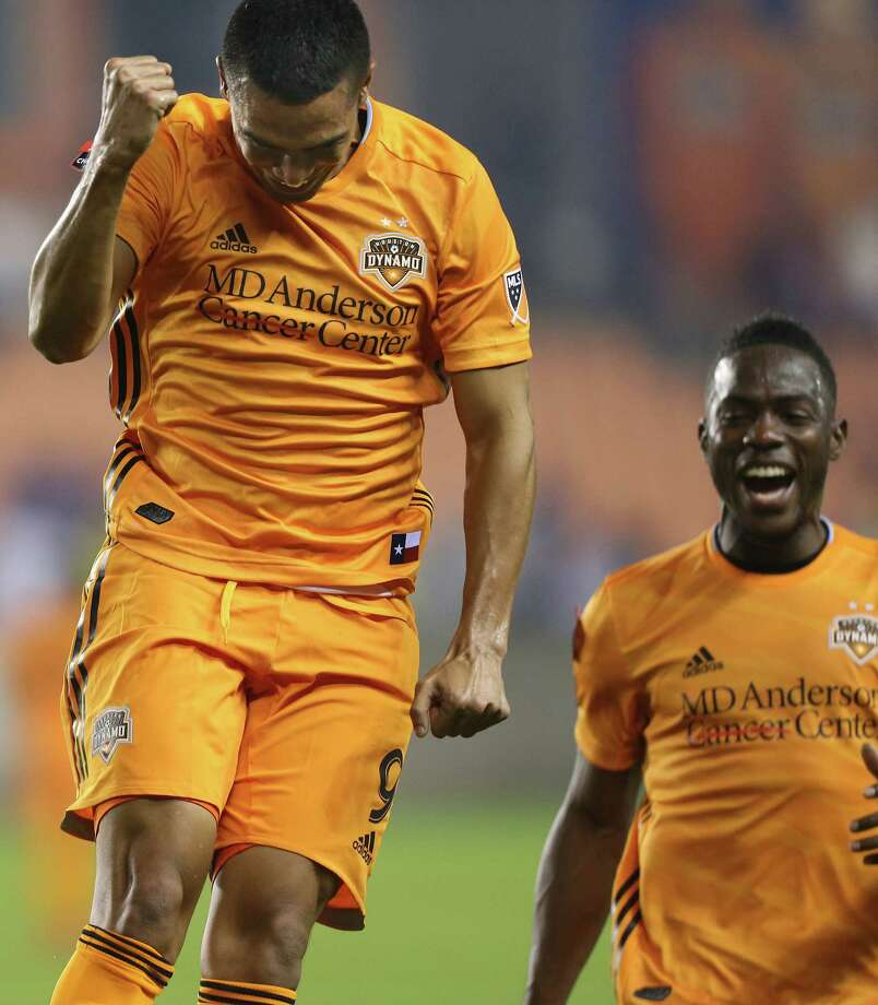 Houston Dynamo forward Mauro Manotas (9) celebrates his second goal with defender Dylan Remick (15) against Guastatoya in round of 16, leg 2 of 2 for the Concacaf Championship League at BBVA Compass Stadium on Monday, Feb. 26, 2019 in Houston. Houston won the rain-delayed game 2-1. Photo: Elizabeth Conley, Staff Photographer / © 2018 Houston Chronicle