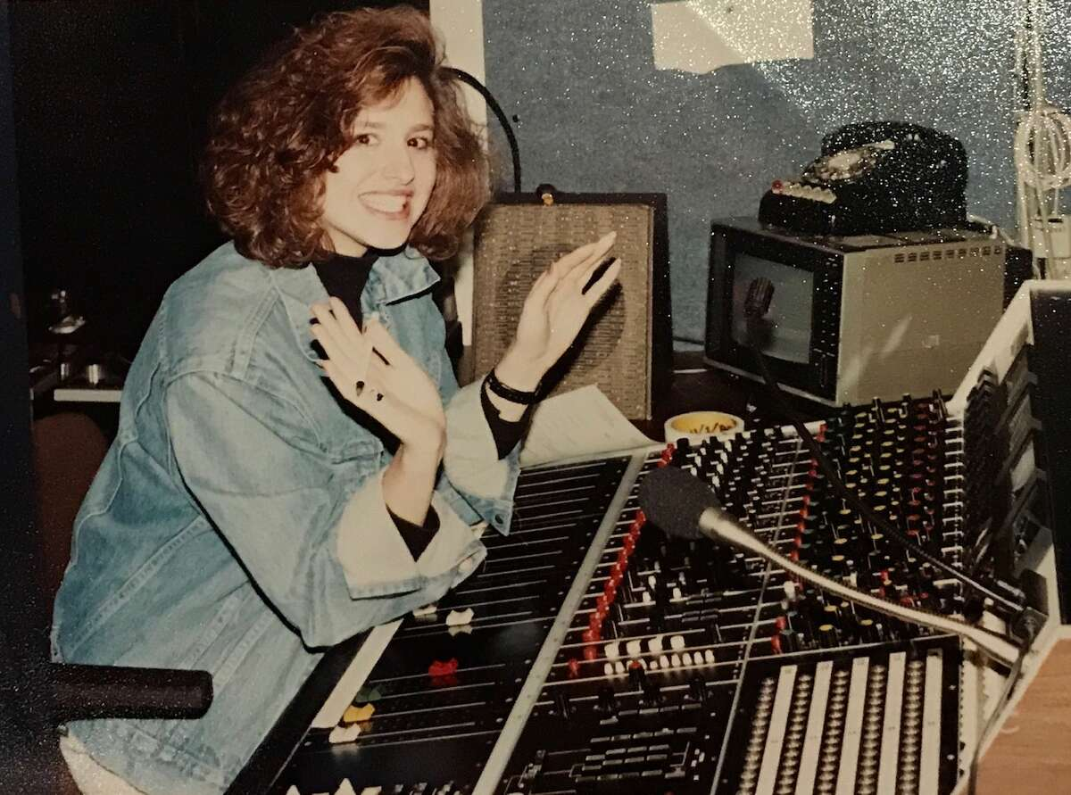 """I attended Richmond College in Richmond, England, for my first semester of college, and then attended the University of Houston. The University of Houston, my alma mater, has since named me """"Outstanding Young Communications Alumna"""" and """"Distinguished Alumni."""" Pictured: I'm at the audio mixing board during my TV production class at the University of Houston."""