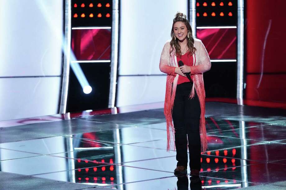 Hannah Kay on the stage of The Voice