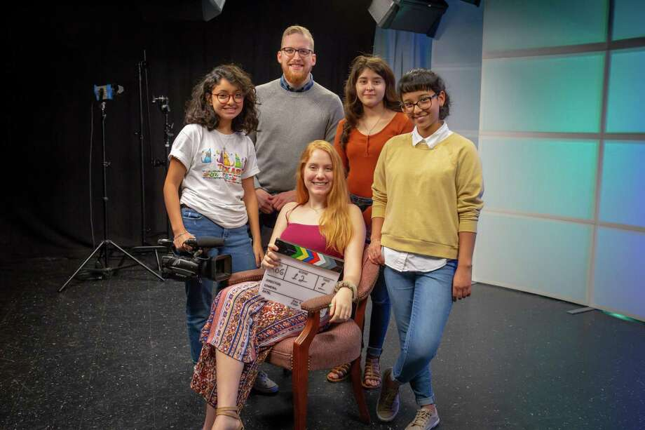 "Some Deer Park High School student filmmakers produced a drama, ""But For the Birds On the Roof,"" that examines puts a spotlight on mental health. The team features videographer Julie Perez, left, teacher Jared Creel, writer/director Abby Sparks, editor Mandi Gamble and writer/director Destiny Hernandez."