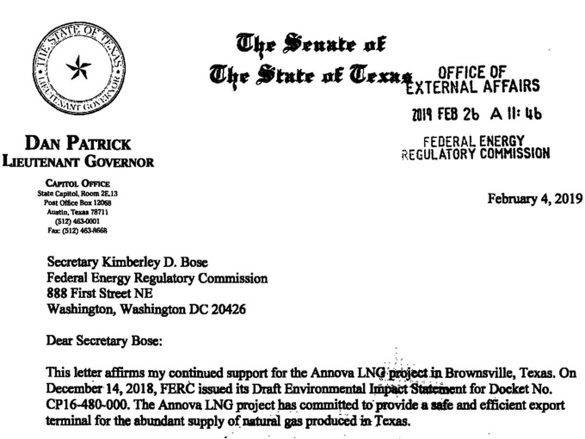Texas Lt. Gov. Dan Patrick wrote a letter of support for the proposed Annova LNG export terminal at the Port of Brownsville.
