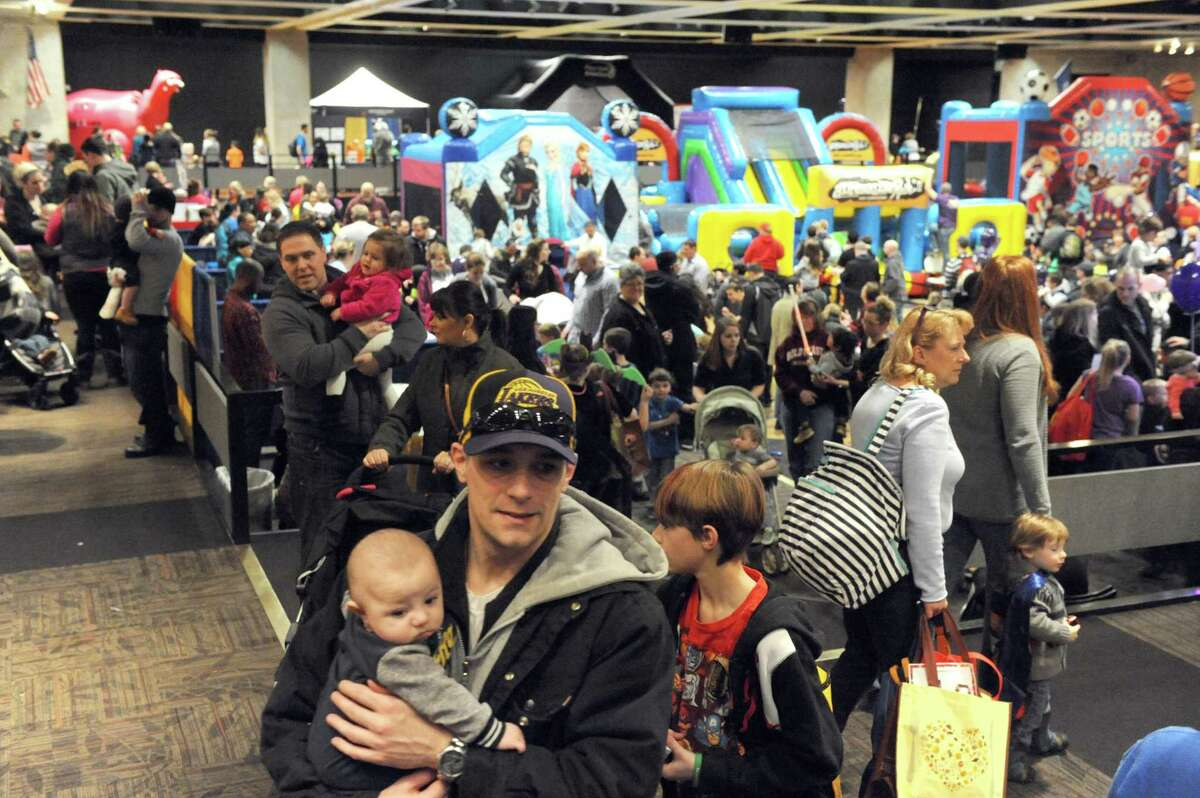 Parents and children pack the convention center during the 11th annual Hannaford Kidz Expo at the Empire State Plaza on Saturday March 5, 2016 in Albany, N.Y. (Michael P. Farrell/Times Union)