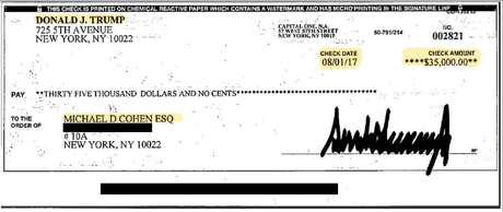 This is the check Michael Cohen says was an installment of a reimbursement from President Donald Trump to Cohen for Cohen's hush-money payment to Stormy Daniels.
