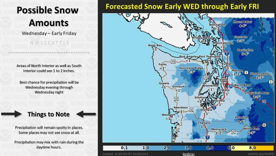 Most areas of the lowland interior will see about an inch or less of snow Wednesday night, though some areas in Snohomish County and north could see up to 2 inches. Photo: Courtesy NWS