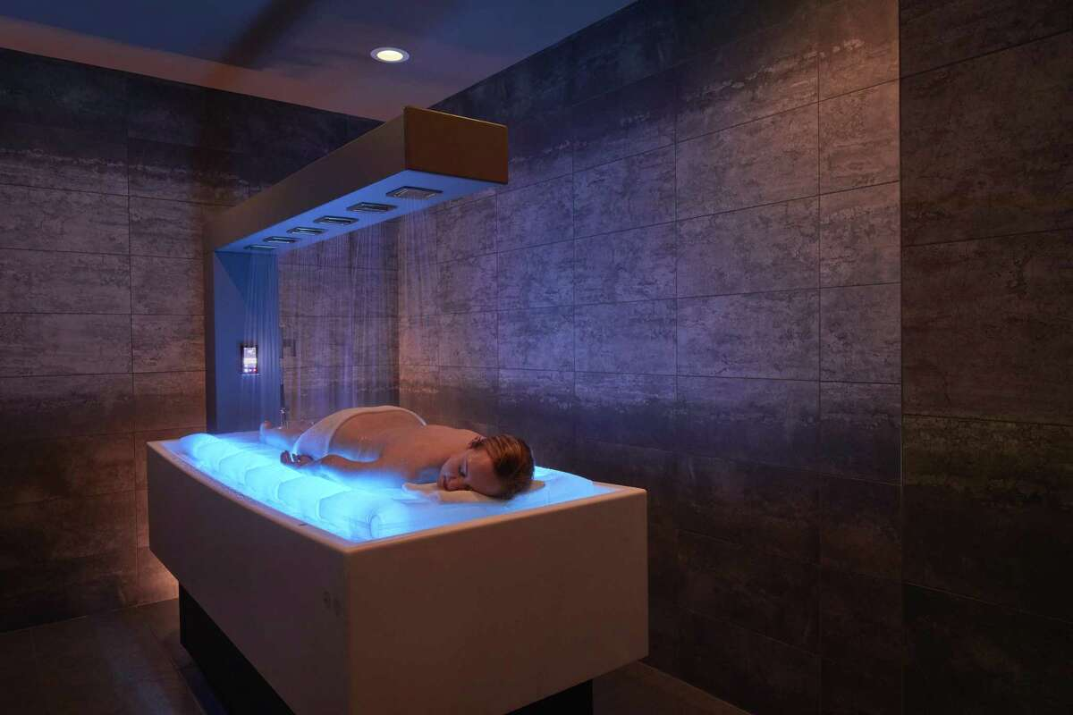 The prosecco body scrub at Bergamos Retreat involves a heated water mattress and choreographed Vichy showerheads.