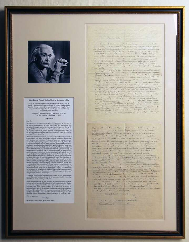 Ephemera/39, taking place at the Hyatt Regency Hotel in Old Greenwich March 16-17, will provide the public with a close look at such original historical documents as an Albert Einstein document, above. Photo: Ephemera Society Of America / Contributed Photo