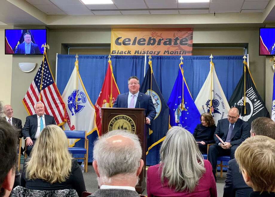 Albany County Executive Daniel McCoy announces the county will sue opioid distributors, as well as manufacturers, for their role in the nationwide overdose epidemic on Wednesday, Feb. 27, 2019. (Bethany Bump / Times Union)