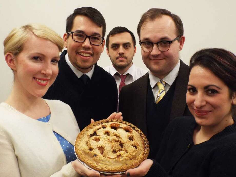 """""""Maple and Vine"""" actors, from left, include Meigg Jupin, Ben Katagiri, Christian Leahy, Evan Jones, and Brigitta Giulianelli. (Photo by Aaron Holbritter) Photo: Aaron Holbritter"""