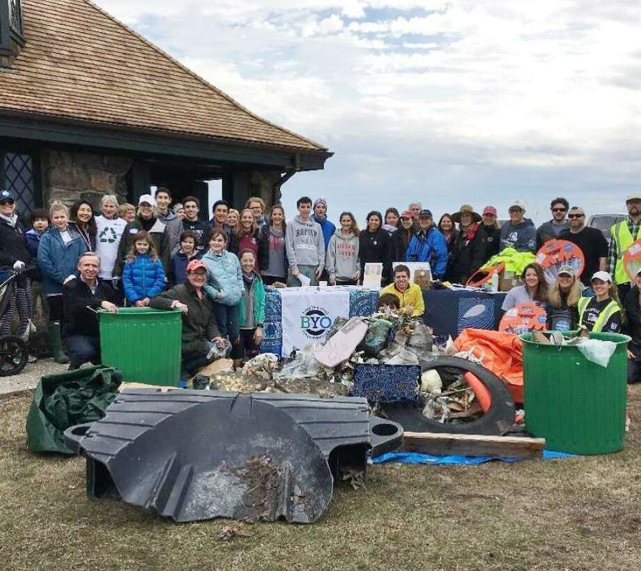 Skip the Straw brought together 130 volunteers to collect 4,000 pounds of trash during its 2018 beach cleanup at Greenwich Point Park. The cleanup will be held Sunday from 2 to 4:30 p.m. Sunday at Greenwich Point. Volunteers will meet in front of the Old Barn. Photo: Contributed Photo / Contributed Photo / Greenwich Time Contributed Photo
