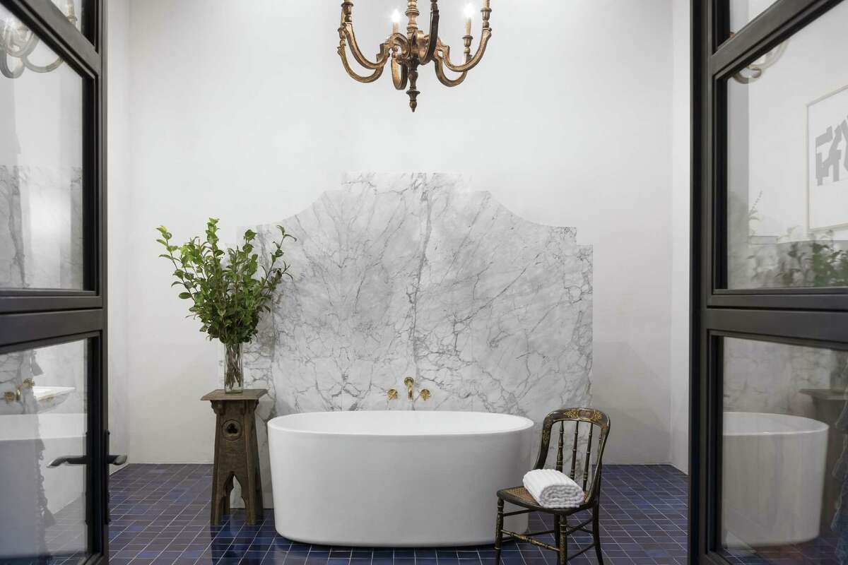 The Amparo room at Hotel Amparo has a massive bathroom with soaking tub.
