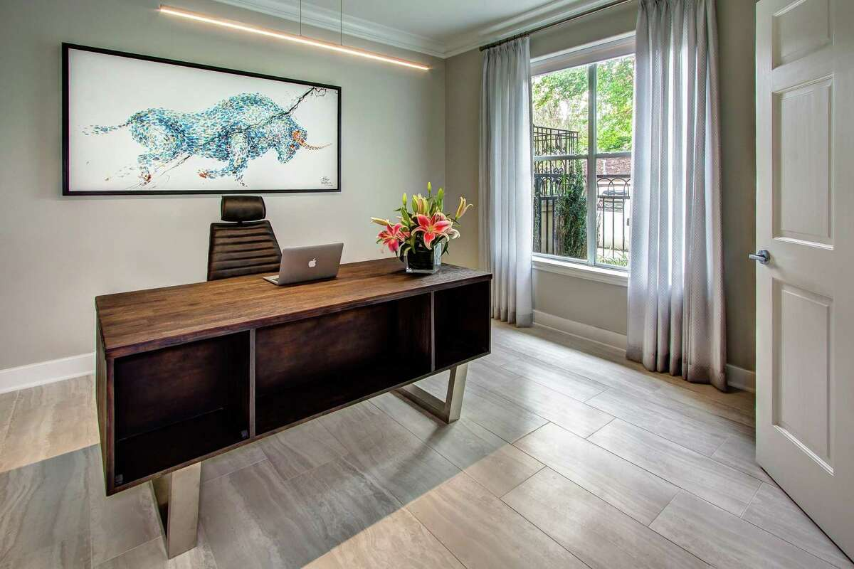 """This """"bullish"""" piece of art seemed appropriate for an in-home office."""