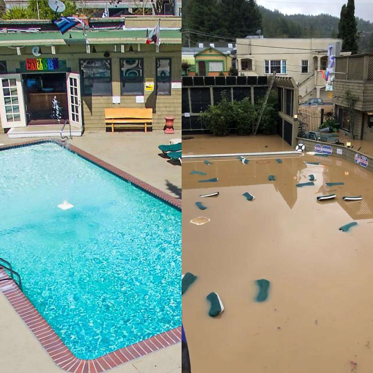 The R3 Hotel in Guerneville was flooded by the Russian River early Wednesday. Guests were evacuated.