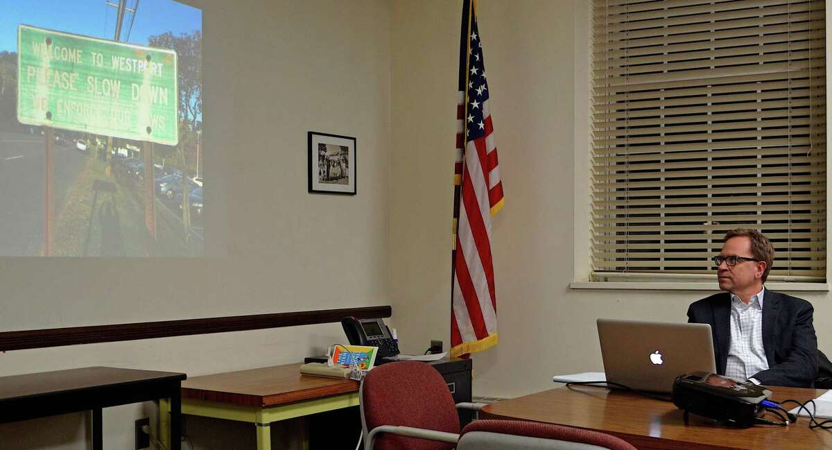 Glen Swantak, principal of Merje of Westchester, Penn., shares a photo of a first impression of Westport at the Wayfinding Information Session at Town Hall, Tuesday, Feb. 26, 2019, in Westport, Conn.
