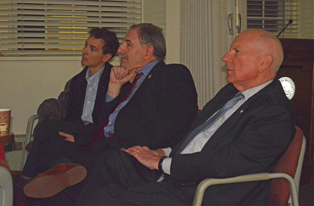 There were only officials present for the public meeting, including, from left, State Sen. Will Haskell, State Rep. Jonathan Steinberg, and First Selectman Jim Marpe, at the Wayfinding Information Session at Town Hall, Tuesday, Feb. 26, 2019, in Westport, Conn.