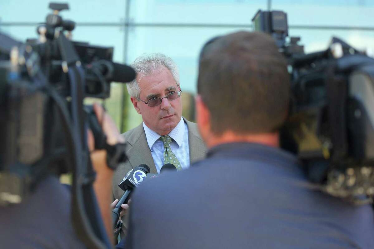 Defense attorney Christian Bujdud speaks outside of Stamford Superior Court after his client Nydia Carrillo-Maldonado was arraigned on first-degree manslaughter and risk of injury to a minor charges on Tuesday, August 9, 2016.