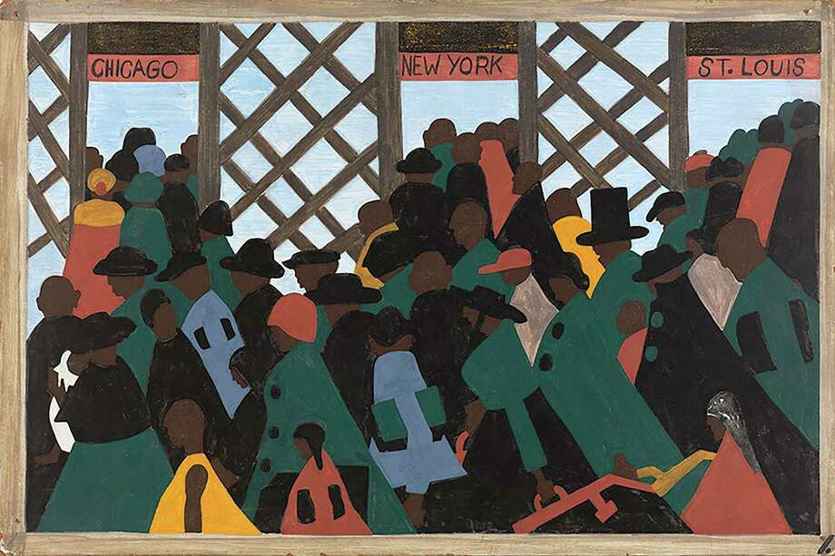 A copy of Panel No. 1 of Jacob Lawrence's The Migration series is on display at the National Museum of African American History and Culture. You can see the original at the Phillips Collection, also in Washington, D.C. Photo: The Phillips Collection / The Phillips Collection