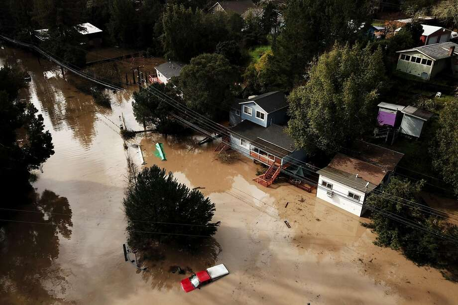 The flooded Maribel Road and River Road on Wednesday, Feb. 27, 2019, in Forestville, Calif. Photo: Santiago Mejia / The Chronicle