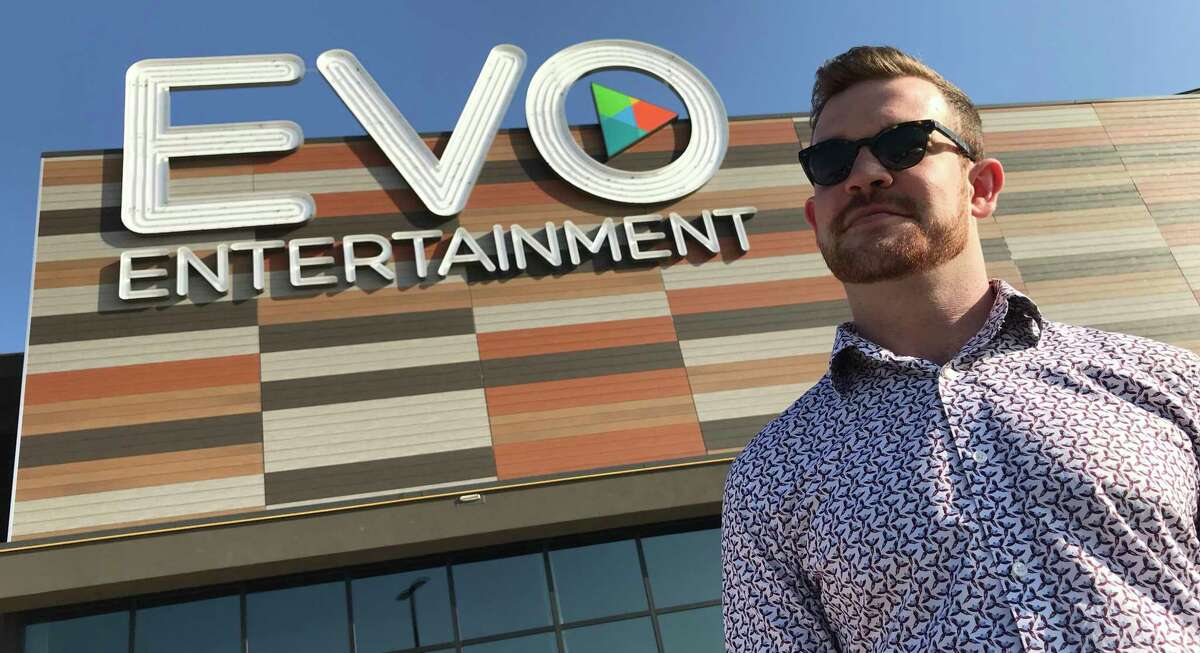 EVO Entertainment Group CEO Mitchell Roberts stands outside his company's Schertz multiplex, which will reopen on Monday at reduced capacity under new state COVID-19 guidelines.