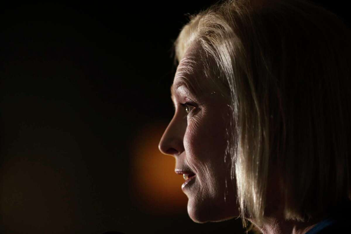 U.S. Sen. Kirsten Gillibrand, D-N.Y., speaks during a meet-and-greet with local residents Monday, Feb. 18, 2019, in Cedar Rapids, Iowa.