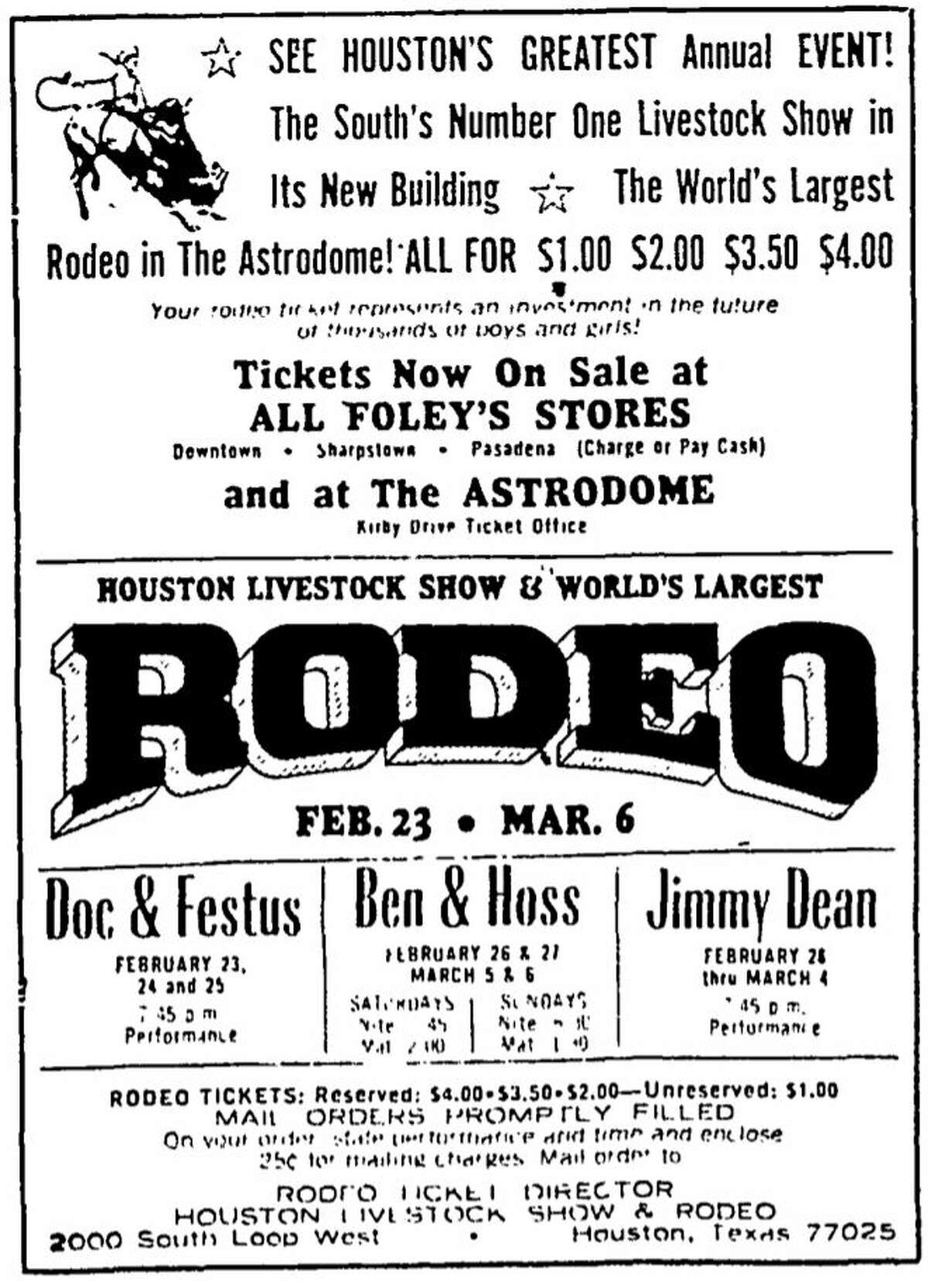 1966 rodeo advertisement from the Chronicle. Jimmy Dean and Ben and Hoss Cartwright from Bonanza were the big names at rodeo that year.
