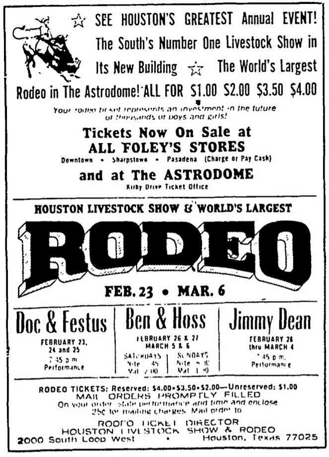 1966 rodeo advertisement from the Chronicle. Jimmy Dean and Ben and Hoss Cartwright from Bonanza were the big names at rodeo that year. Photo: Chronicle File