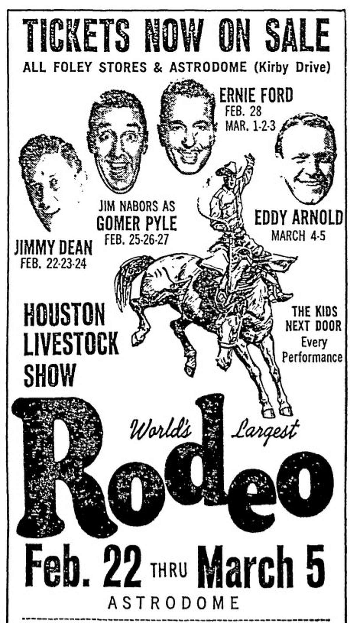 """1967 rodeo advertisement from the Chronicle. Jimmy Dean returns with Jim Nabors and """"Tennessee"""" Ernie Ford."""