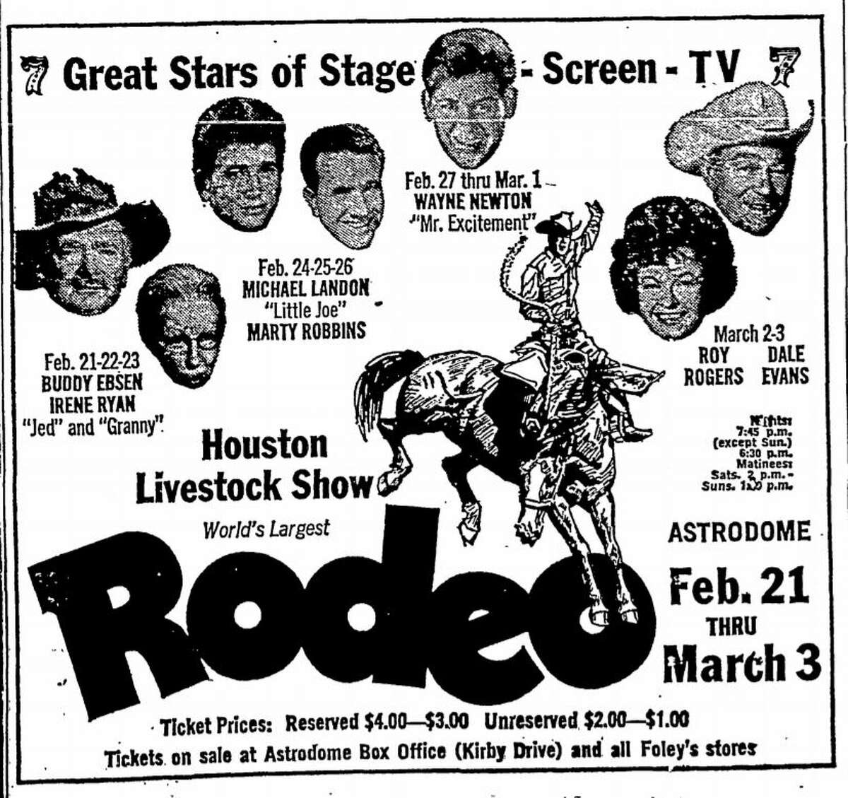"""1968 rodeo advertisement from the Chronicle. Buddy Ebsen and Irene Ryan from """"The Beverly Hillbillies"""" and Michael Landon from """"Bonanza"""" appear."""