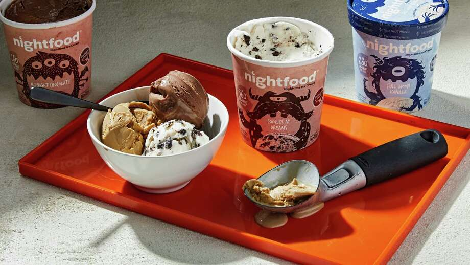 Nightfood ice creams come in flavors such as decaffeinated cold beer, Bed and Breakfast (waffles and syrup), chocolate cherry and Dreams Cookies. Photo: Tom McCorkle's photo for the Washington Post. / The Washington Post