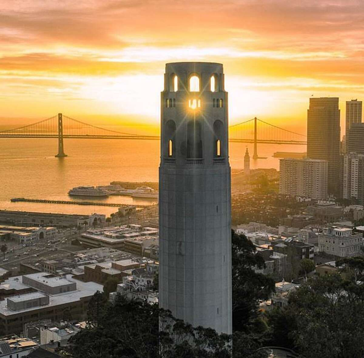 Sunrise at Coit Tower by @fitzsimonsphotography