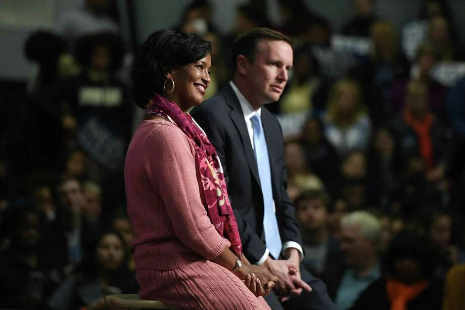 Democratic candidate for congress Jahana Hayes with U.S. Sen. Chris Murphy during a rally in Hartford, Conn., Friday, Oct. 26, 2018. (AP Photo/Jessica Hill) Photo: Jessica Hill / Associated Press / Copyright 2018 The Associated Press. All rights reserved