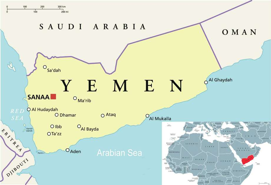 Yemen locator map (Getty images, Cathleen F. Crowley / Times Union)