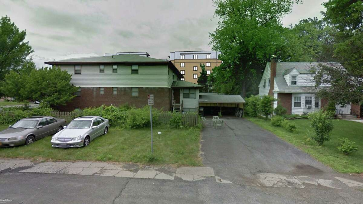 Renderings of proposed six-story apartment complex at 1211 Western Ave. in Albany.